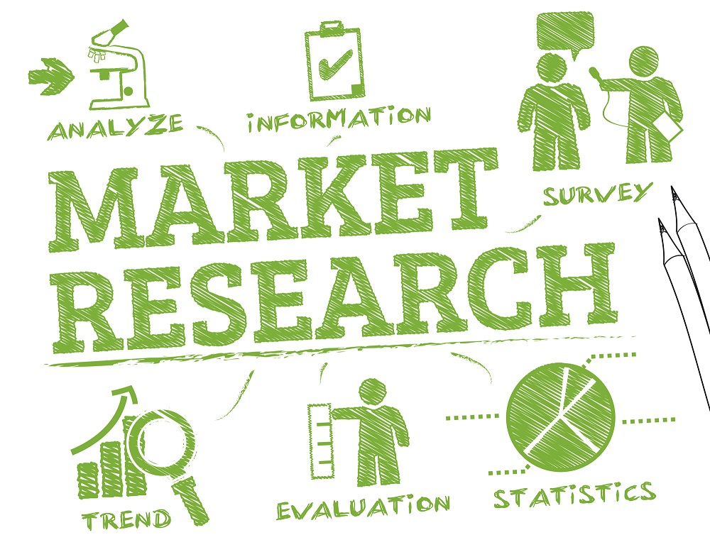 Market Research. Chart with keywords and icons